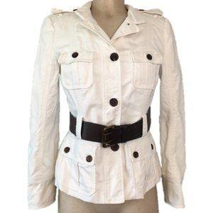 Zara White Button Up Light Brown Belt Jacket M